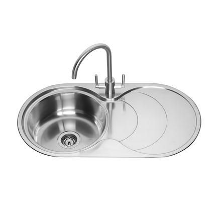 Lamona Round Bowl Sink With Drainer Stainless Steel Kitchen Sinks Howdens Joinery