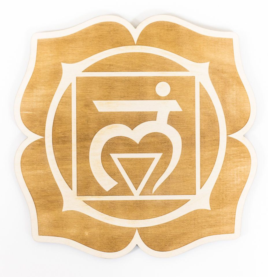 Root Chakra Engraved Wood Sign Wall Décor | Chakra and Products
