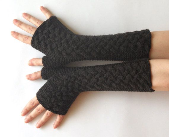 Knit Arm Warmers Cashmere Gloves Wool Cable Fingerless Gloves Coffee ...
