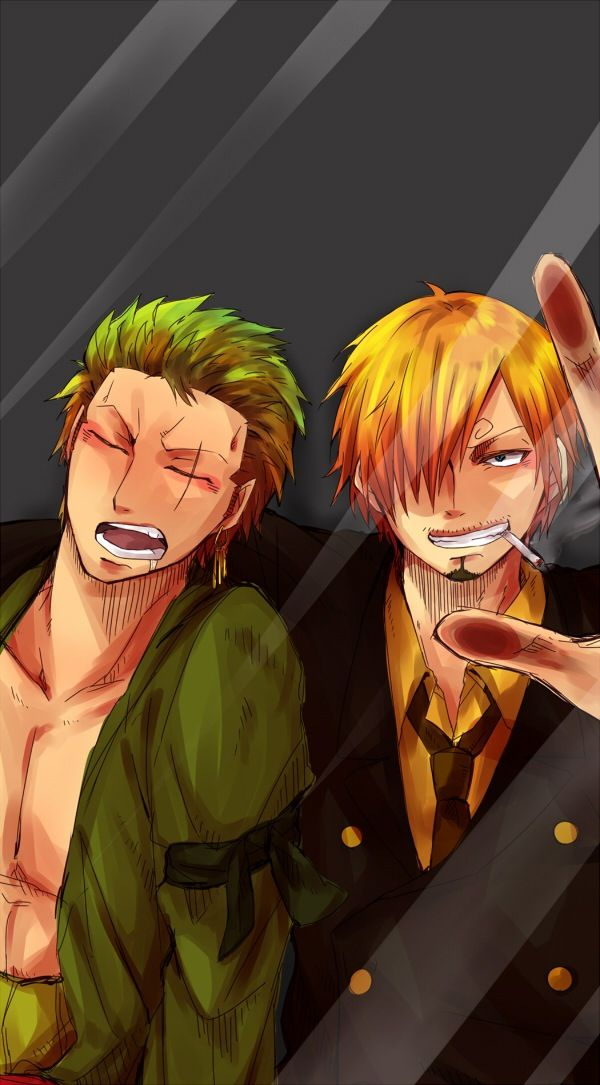 Sanji And Zoro Lock Screen They Sure Look Nice Like That Lol And I Am Wondering That They Haven T Argued Yet Zoro One Piece Anime Lock Screen One Piece Manga