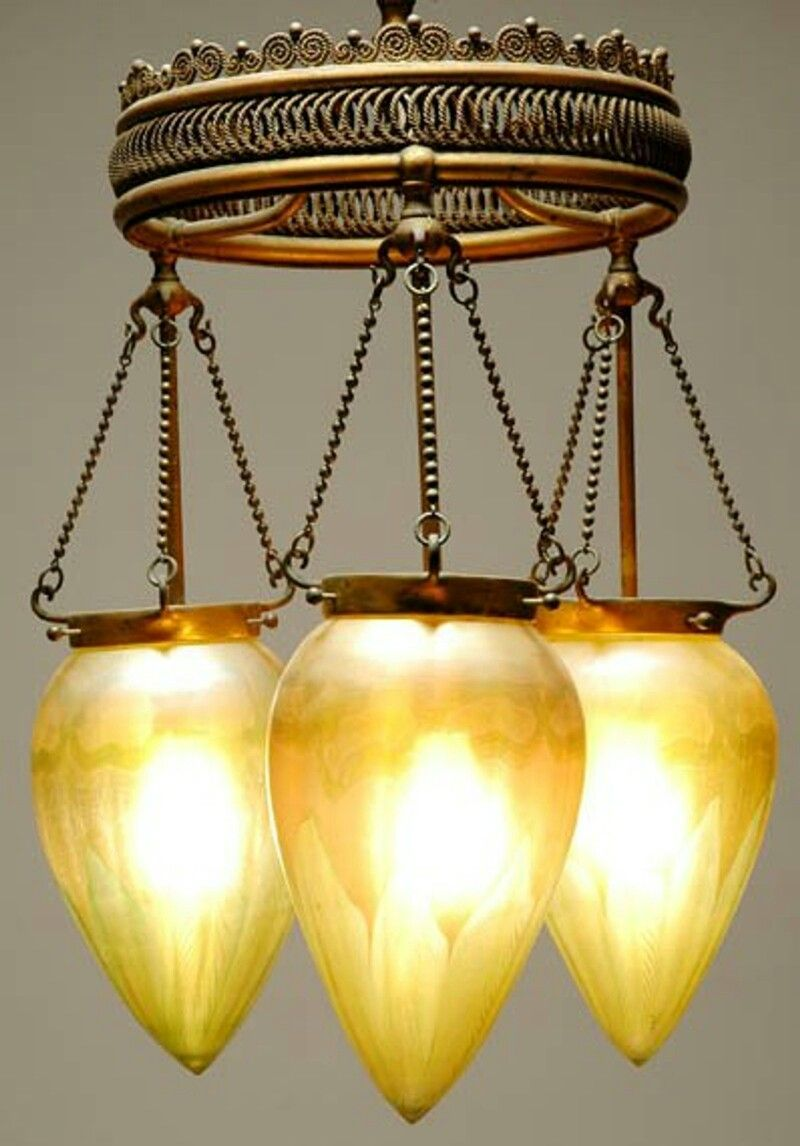 Tiffany Studios Gilt Bronze And Favrile Glass Three Light Stalactite Chandelier Circa 1910 In Moorish Style The Glo Antique Lighting Antique Lamps Gas Lights