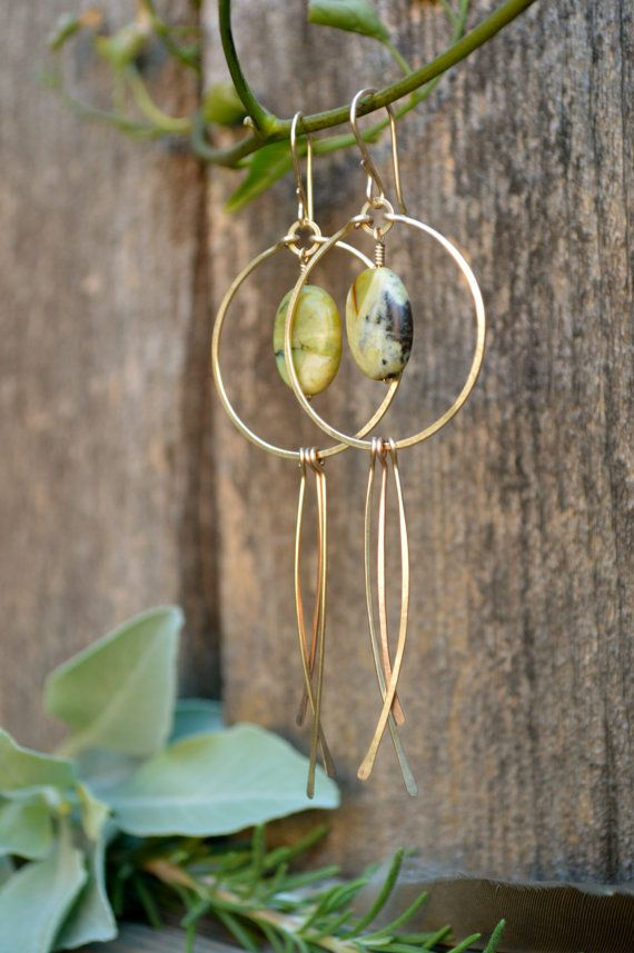 Gold Hoop Peacocks with Green Turquoise by AngelegacyDesigns