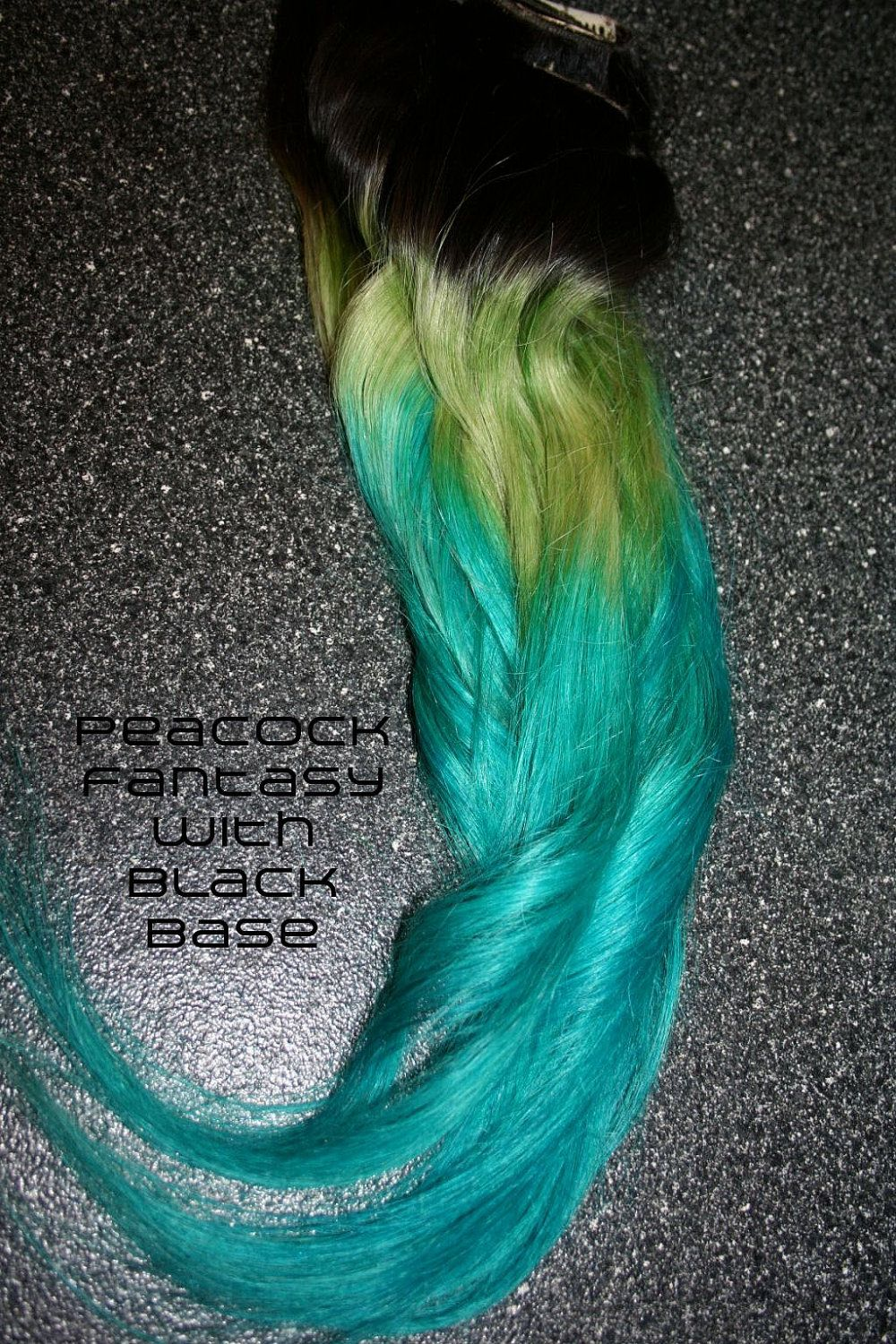 PEACOCK FANTASY  // (8) Green and Turquoise Blue Ombre Hair Extensions // Clip-In // Human Hair. $80.00, via Etsy.