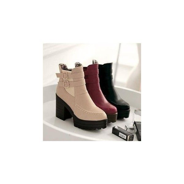 Faux Leather Block Heel Ankle Boots (£32) ❤ liked on Polyvore featuring shoes, boots, ankle booties, ankle boots, footware, faux leather booties, beige ankle boots, high heel ankle booties, platform boots and high heel ankle boots