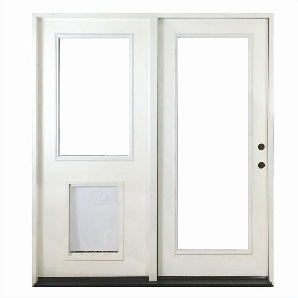 Steves Sons 72 In X 80 In Clear Full Lite Primed White Fiberglass Prehung Rhis Center Hinge Patio Door W Sl Pet Door Fgchp Flsp Pr R72 4irh The Home Depo Hinged Patio Doors