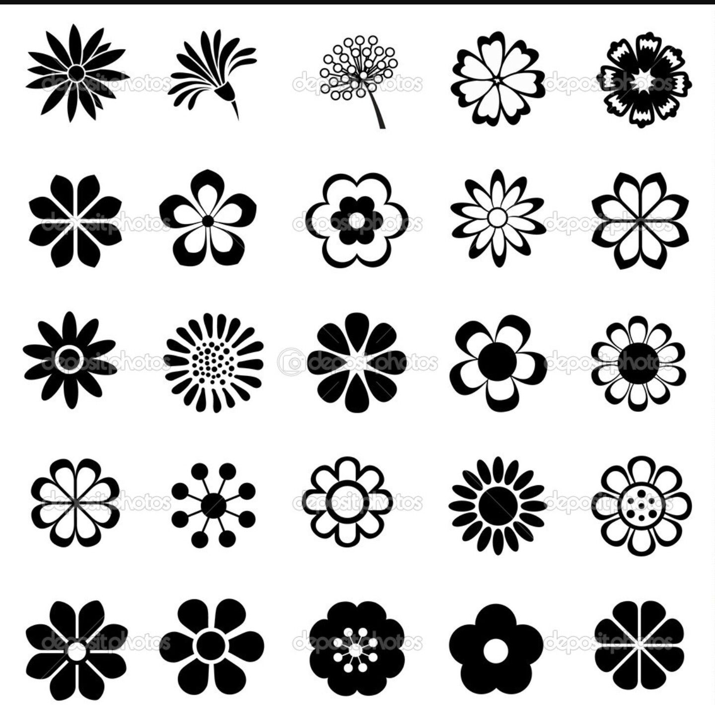 Simple Elegant Flowers Flower Icons Vector Flowers Flower Drawing