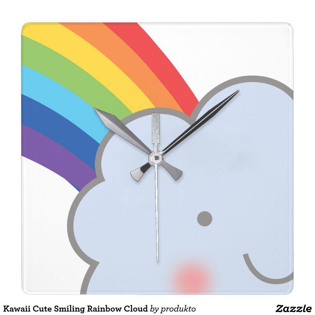 Kawaii cute smiling rainbow cloud square wall clock kawaii kawaii cute smiling rainbow cloud square wall clock amipublicfo Gallery