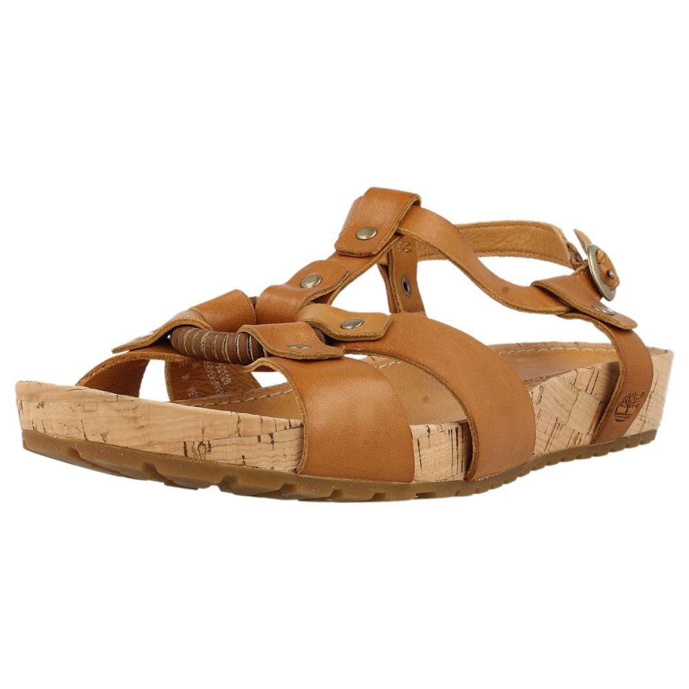 Ladies Timberland Sandals Tan Leather Style - 62128  Estelarngank Strp  Timberland Sandals -9815