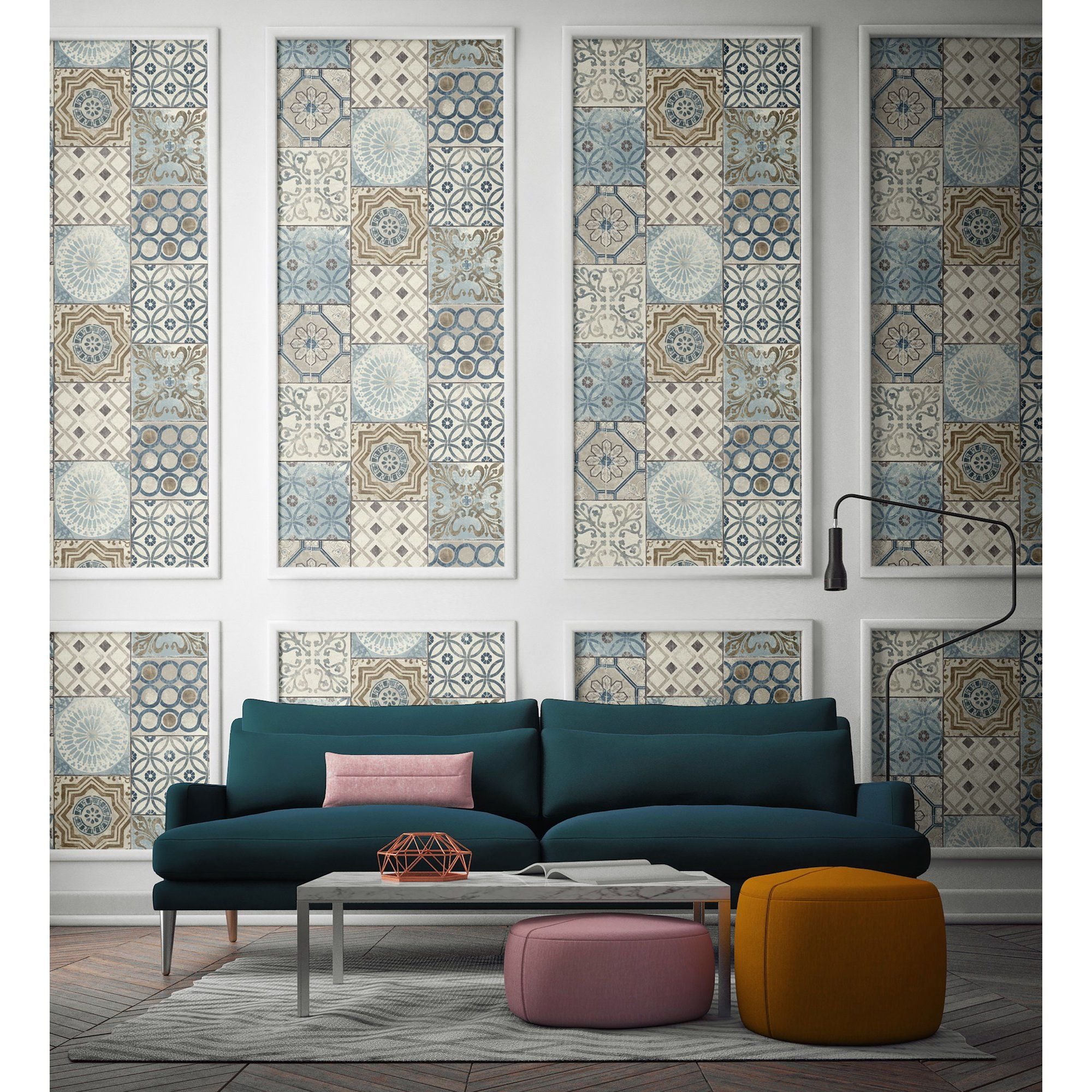 Nextwall Moroccan Style Peel And Stick Nw30002 Mosaic Tile Wallpaper Blue Copper Grey Walmart Com Home Decor Decor Blue Grey Wallpaper