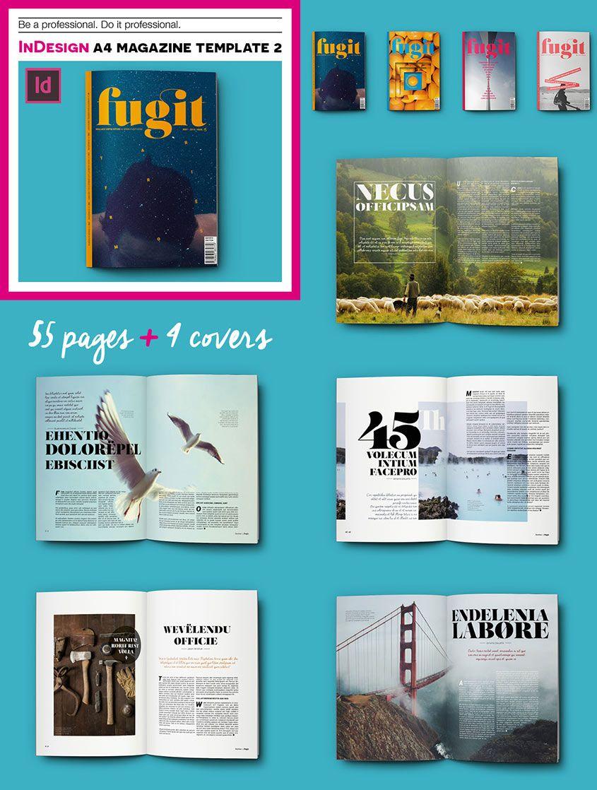 InDesign A4 Print Magazine Template 2 | Graphics | Pinterest