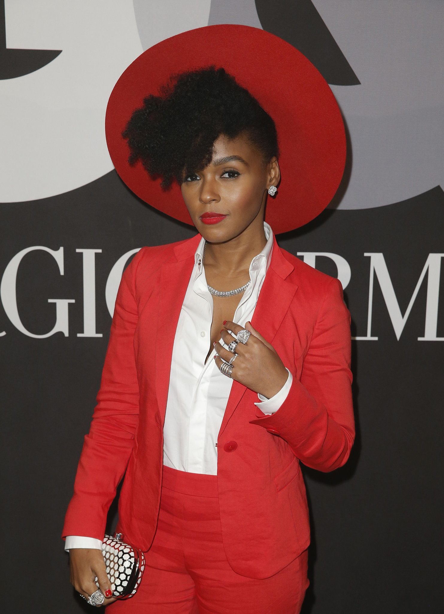 Janelle Monáe looked ravishing in red at the GQ and Giorgio Armani event.