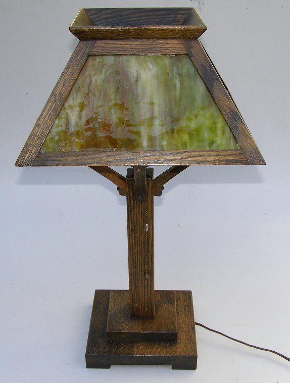 33232cc4dd8c7 W.B.Brown Co. Mission Oak Table Lamp w Green Slag Art Glass Shade gg36