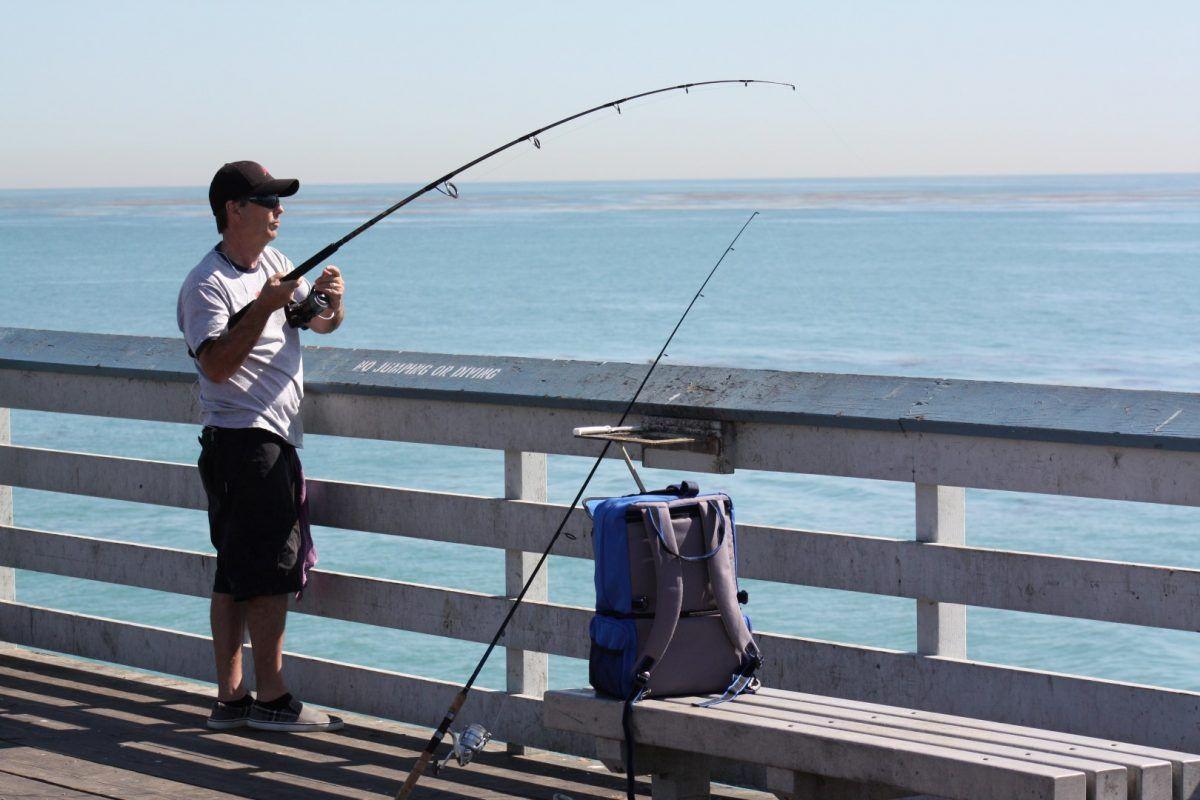 Pier Fishing in California Pier fishing, Newport beach