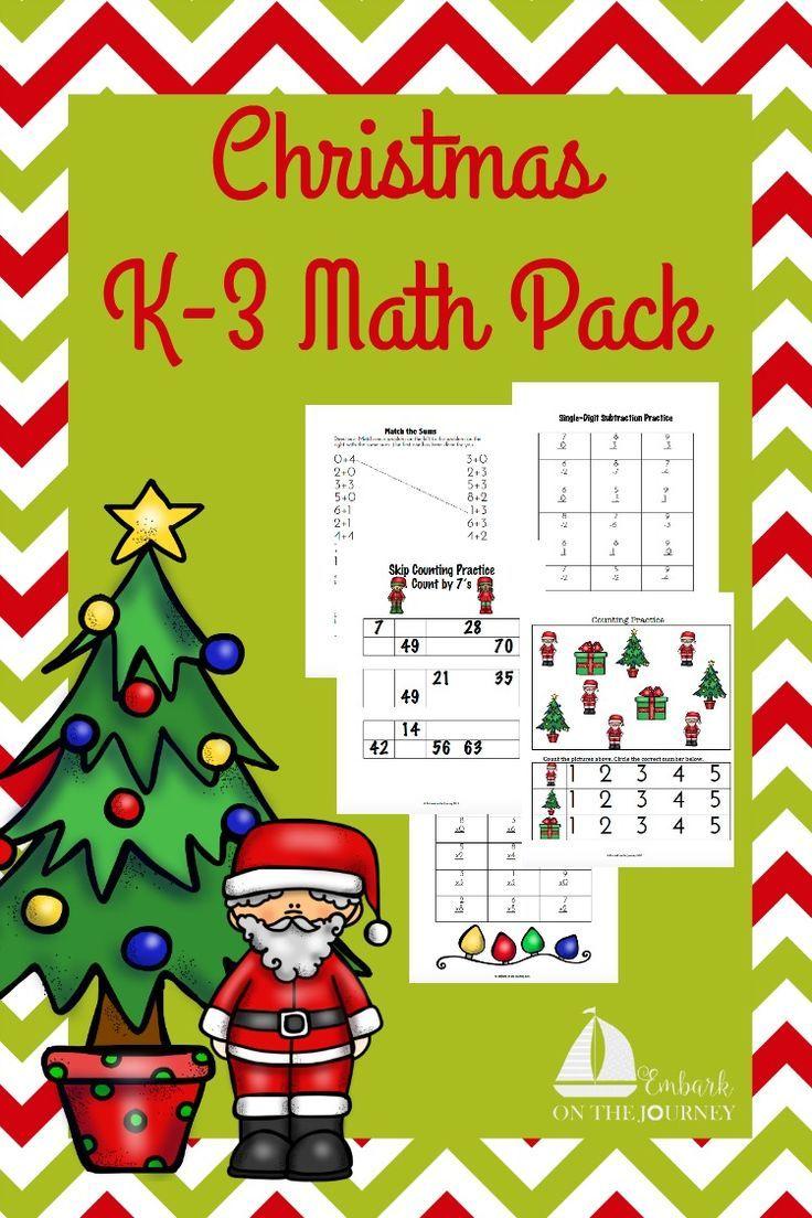 Free Christmas Math Pack For K 3 Christmas Math Holiday Worksheets Christmas Math Worksheets [ 1104 x 736 Pixel ]