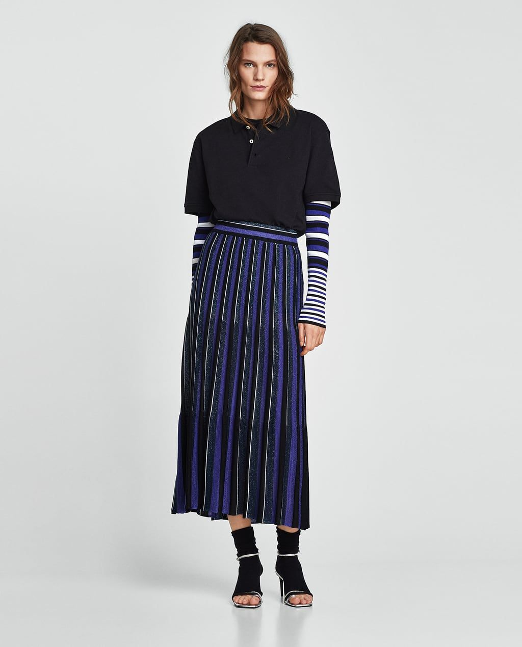 4ad1854519 ZARA - NEW COLLECTION - LONG STRIPED SHIMMERY SKIRT
