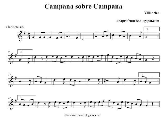 Partitura Campana Sobre Campana Villancico Partituras Partituras Piano Facil Partituras De Canciones