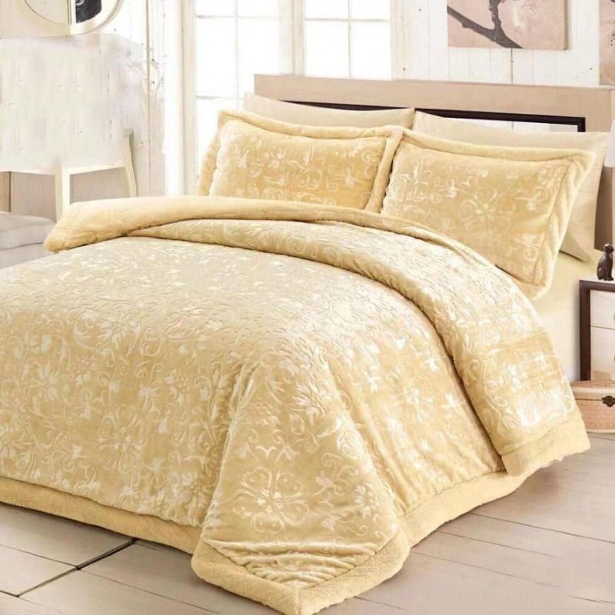 مفرش بيلسان شتوي مزدوج فرو كريمي Winter Night Blanket Bed