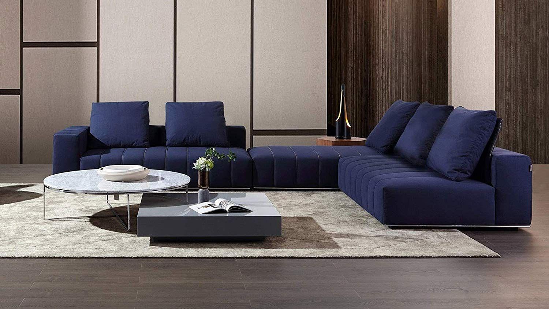 Amazon Com Zuri Furniture Modern Kiesler Midnight Blue Fabric Modular L Sectional Sofa With Left Arm Furniture Modern Furniture Furniture Design Living Room