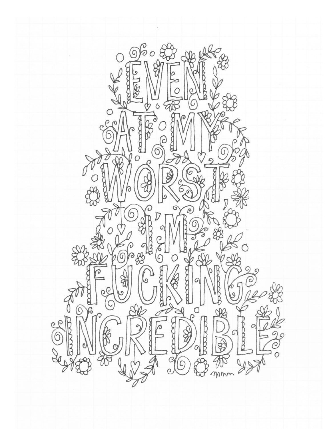 Quote coloring page instant download line art illustration personal use by mollymattin on etsy