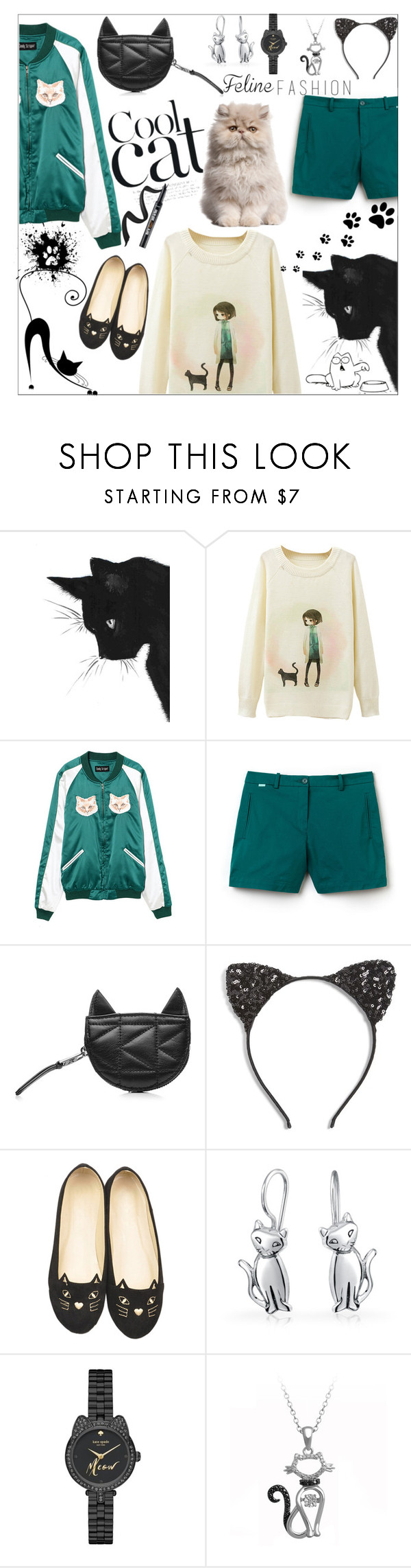 """""""Cute cat"""" by peta-5 ❤ liked on Polyvore featuring Lacoste, Karl Lagerfeld, Cara, WithChic, Bling Jewelry and Kate Spade"""