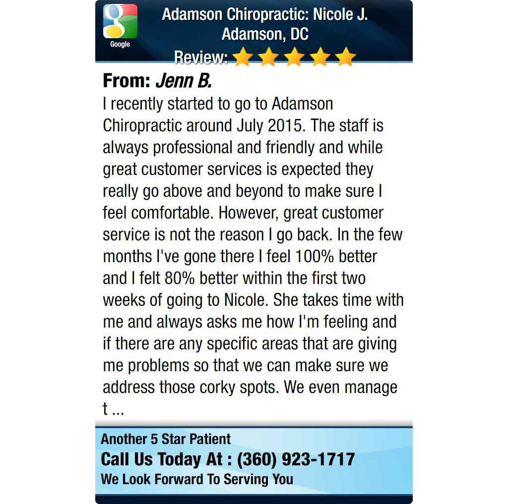 I recently started to go to Adamson Chiropractic around