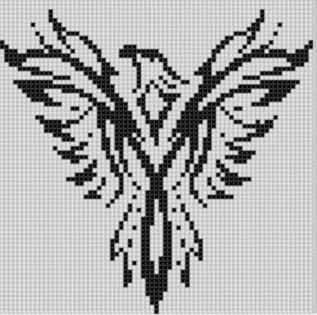 PHOENIX FLIGHT cross stitch pattern punto cruz {