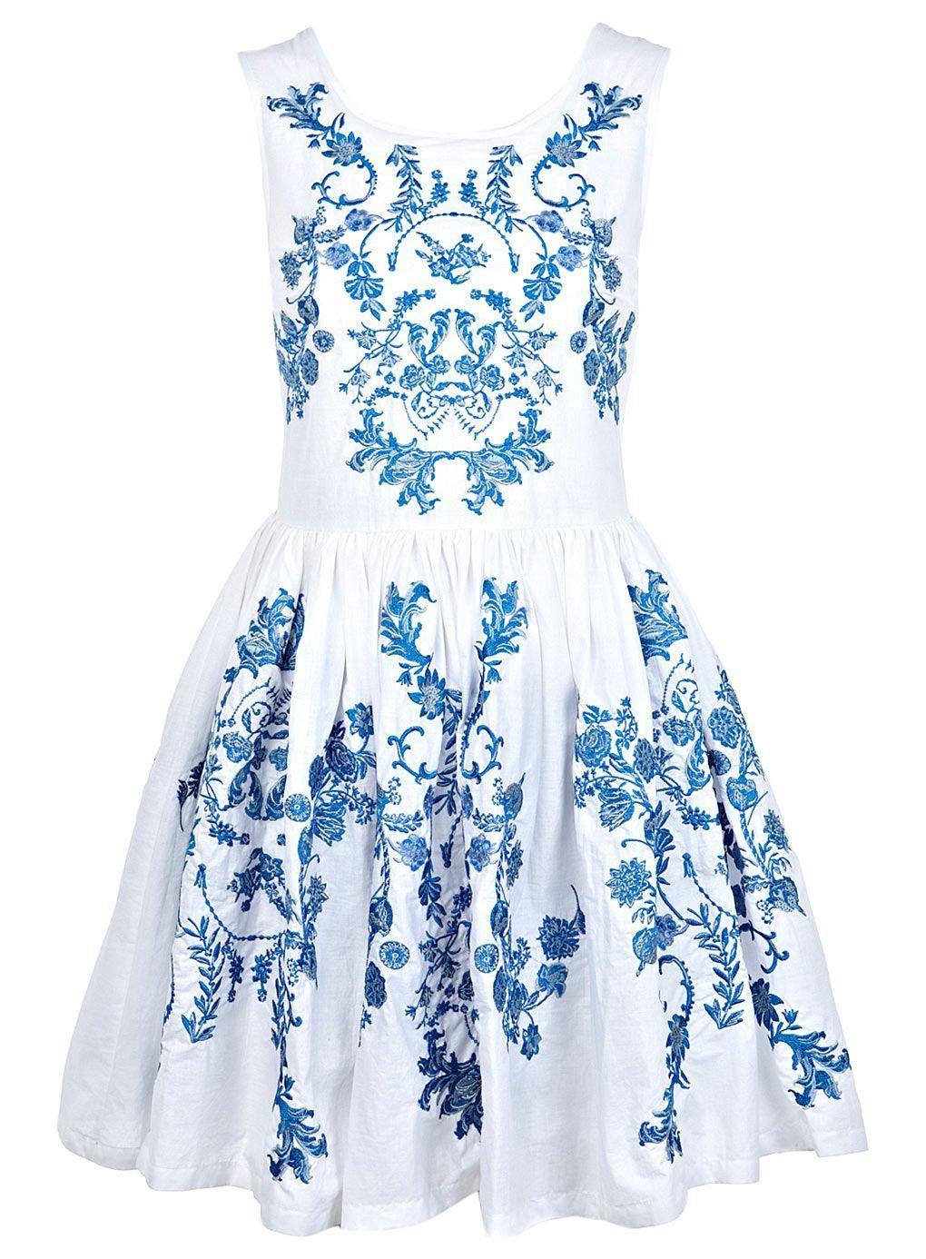 China Blue Embroidered Dress - Prom Dresses - Dress Shop - Miss ...