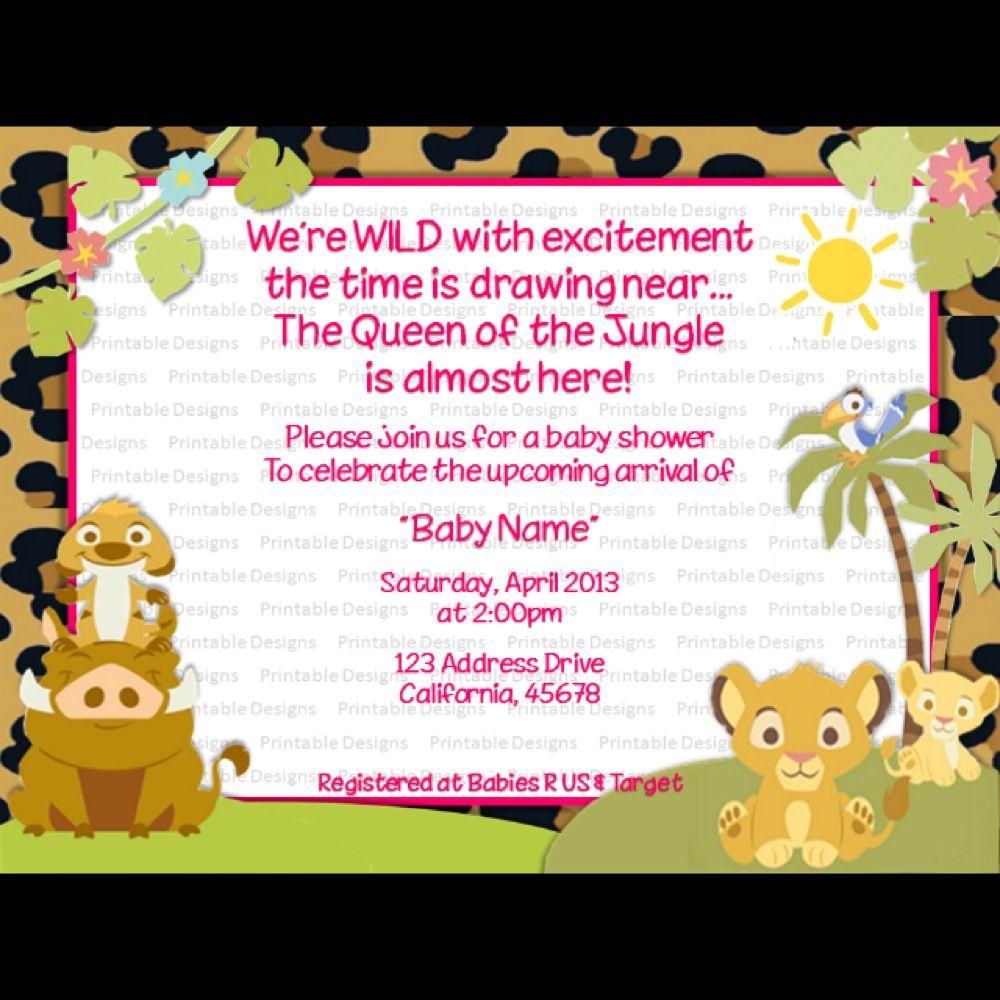 New Design - Girl Baby Lion King Baby Shower Invite ...
