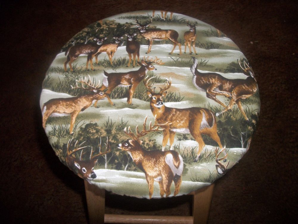 White Tail Deer Camo Camoflauge 12 Fabric Wooden Kitchen Bar Stool Cover Handmade