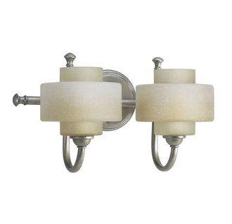Photo of Progressive lighting P2886-134WB Silver Ridge Ashbury two-light bathroom mixer with toasted linen glass shades – LightingDirect.com