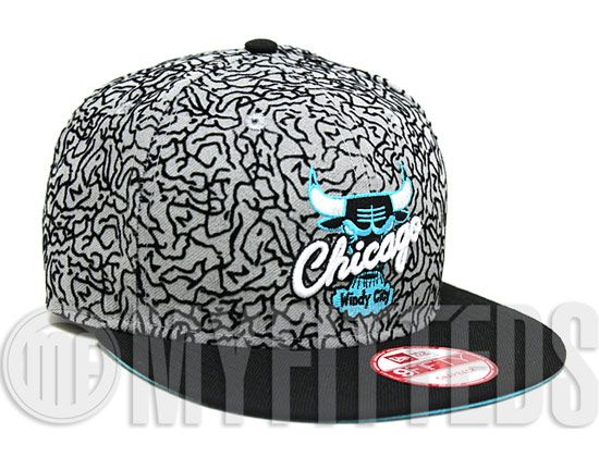 878b85ee465 Custom Elephant Print Chicago Bulls NEW ERA 9Fifty Snapback Cap For Air  Jordan 3Lab5