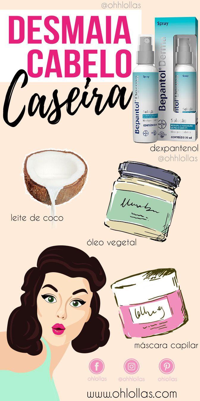 11ac8ce87 Hidratação desmaia cabelo caseiro com bepantol, leite de coco e óleo  vegetal (óleo de rícino, azeite de oliva, óleo de coco). @ohlollas  Hidratação caseira ...