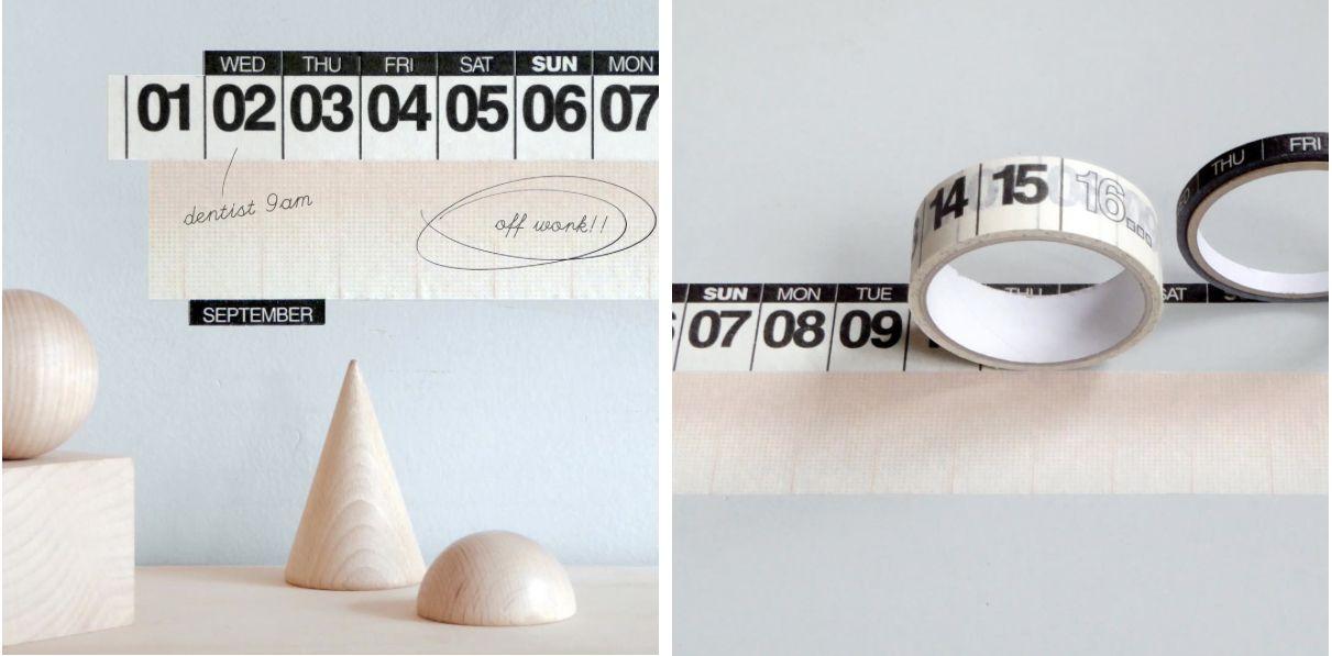 Masking tape calendar.