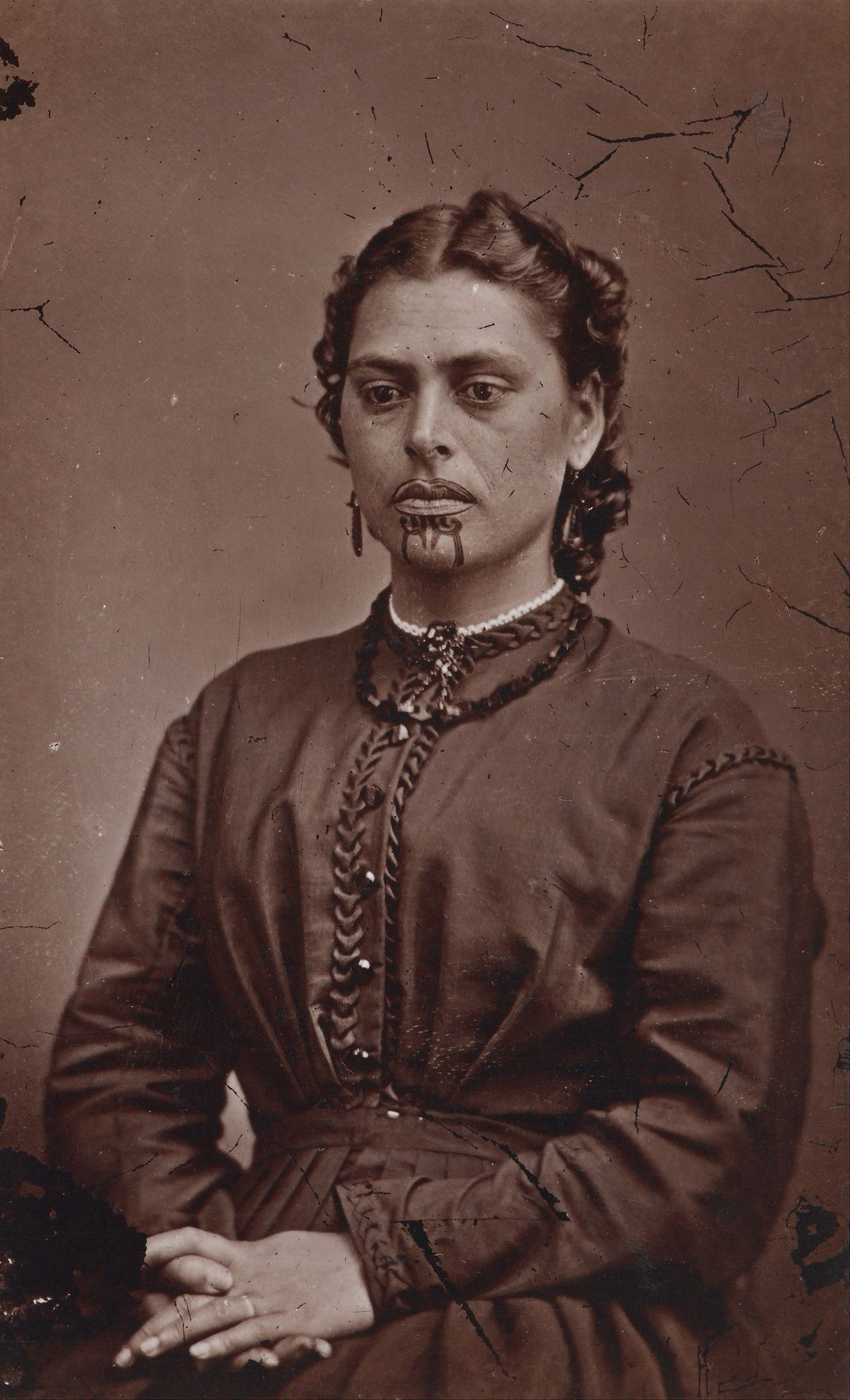 Maori Face Tattoo Designs Women: Mrs Rabone, 1871. American Photographic Company (Auckland