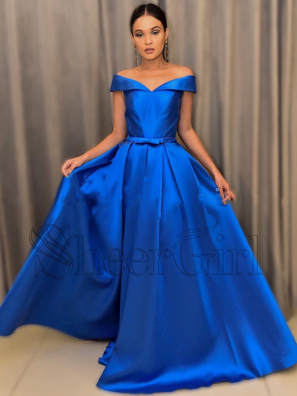 Off the shoulder royal blue prom dresses with belt long a line