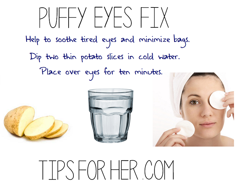 Puffy Eye Fix Use a potato to soothe tired eyes and help