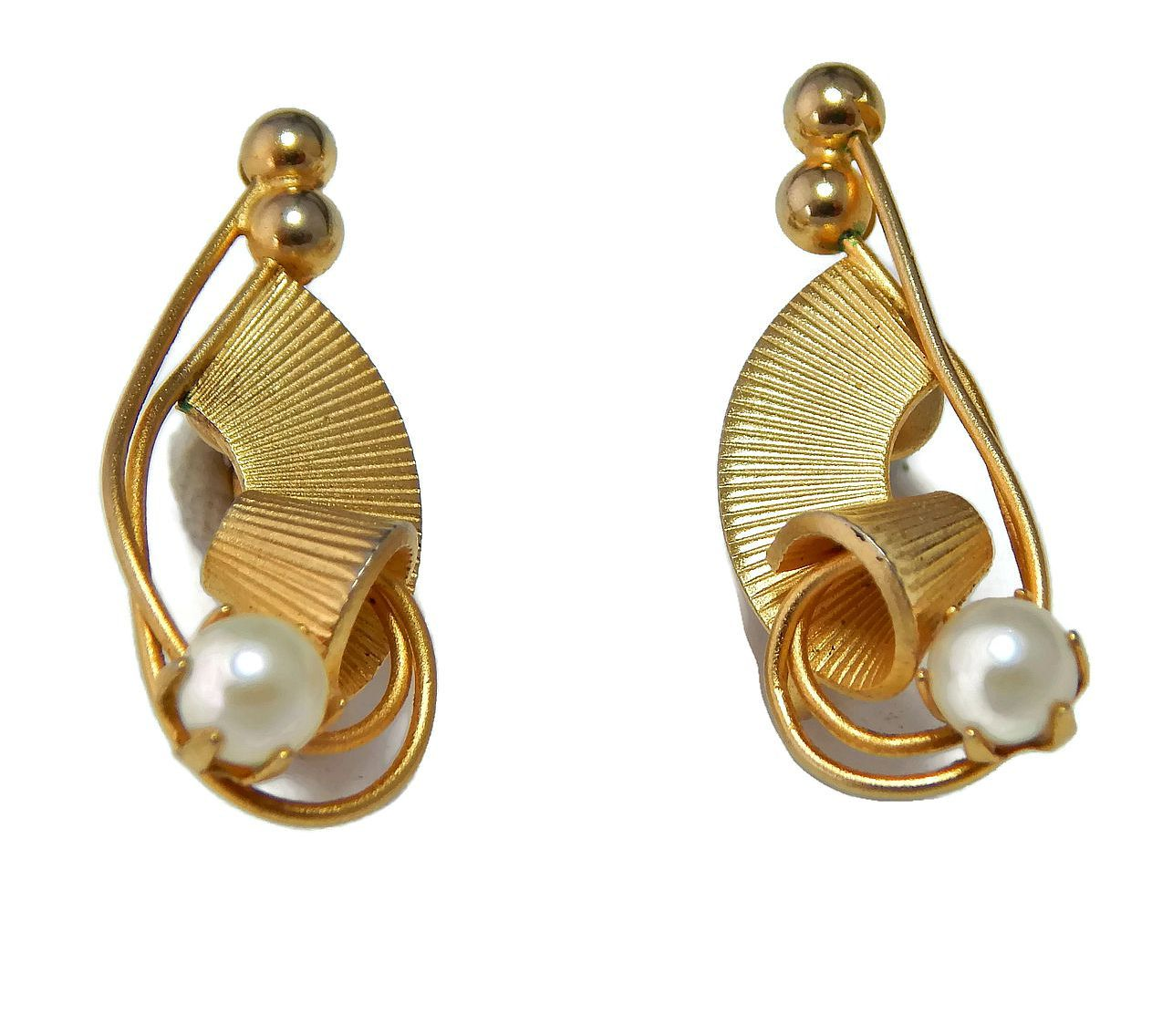 Genuine Pearl Earrings Gold Plated Clip On Ear Bobs By Eclecticvintager On  Etsy