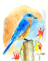 Bluebird On A Post  by Arline Wagner