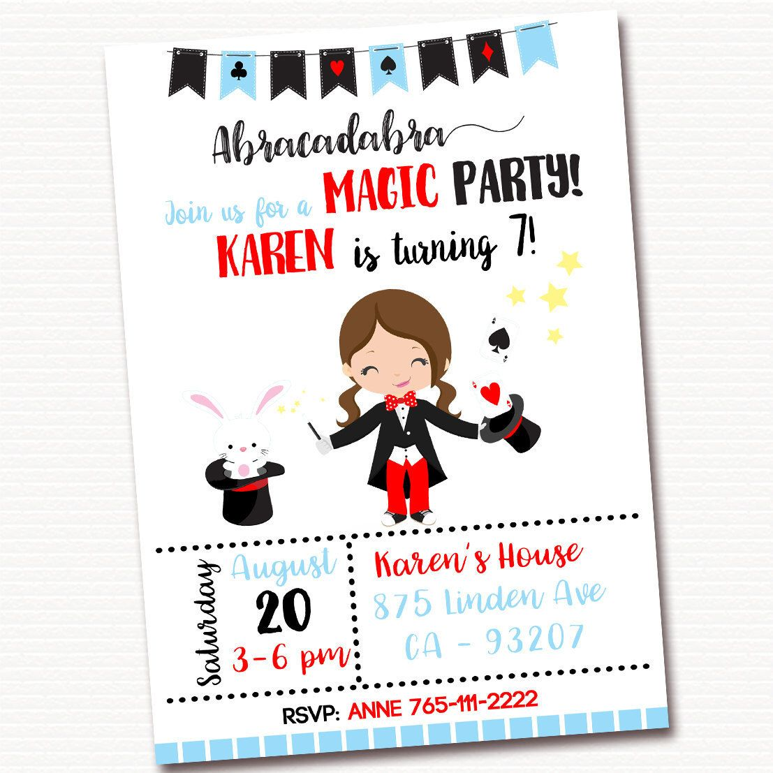 Magic Invitation, Magic Invite, Magic Birthday Invitation, Magic ...