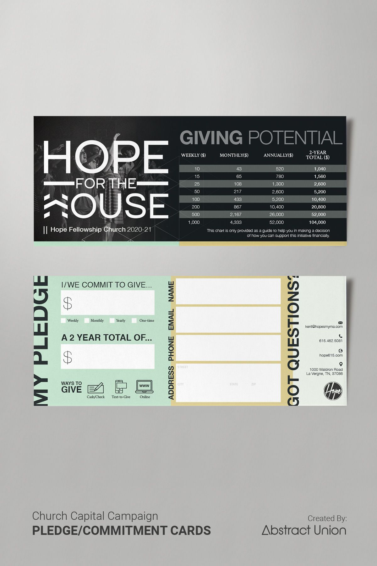 Contemporary Commitment Cards For Church Captial Campaigns Church Capital Campaign Capital Campaign Card Template