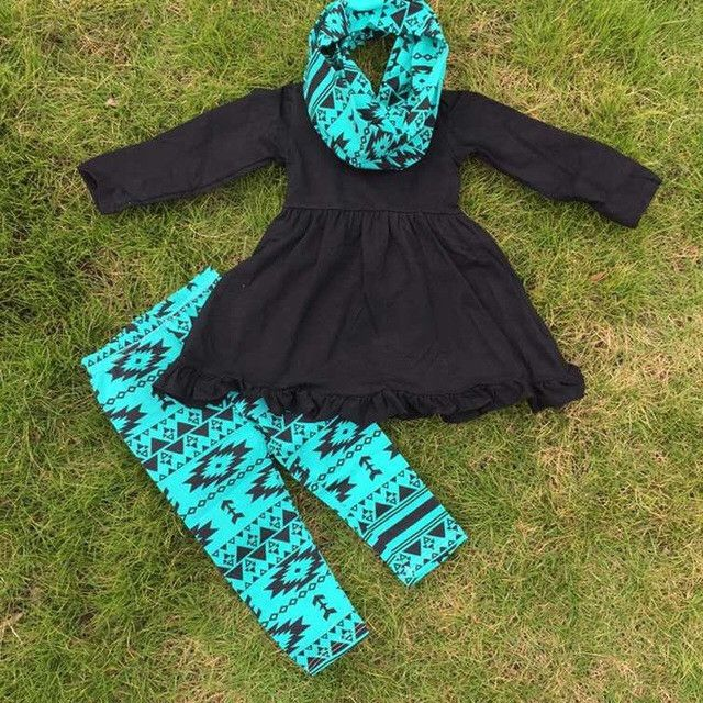 Black Top And Teal Aztec Legging Set With Scarf Little