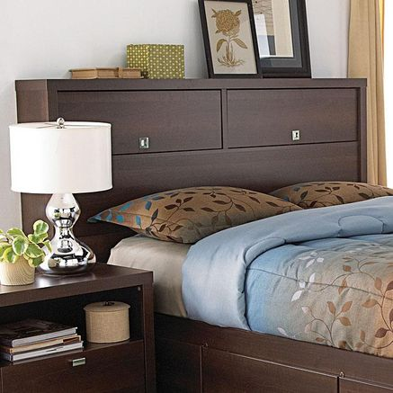 Headboard With Storage Doors Slide Up And Into The Headboard
