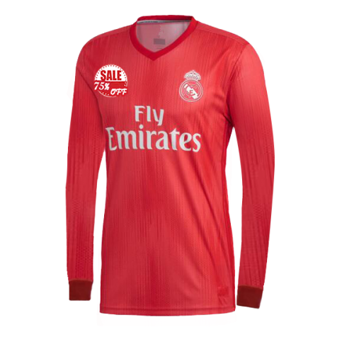 Real Madrid Ls Third Away Soccer Jersey Shirt 2018 19 Red Cheap Long Sleeve Football Kit On Goaljerseyshop Co Long Sleeve Jersey Shirt Real Madrid Jersey Shirt