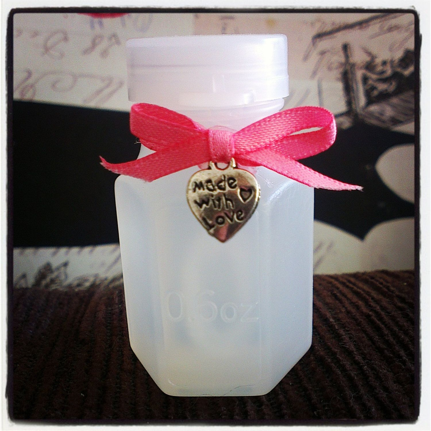 40 Wedding Bubble Bottles With C Pink Ribbon And Silver Made Love Heart Charm By