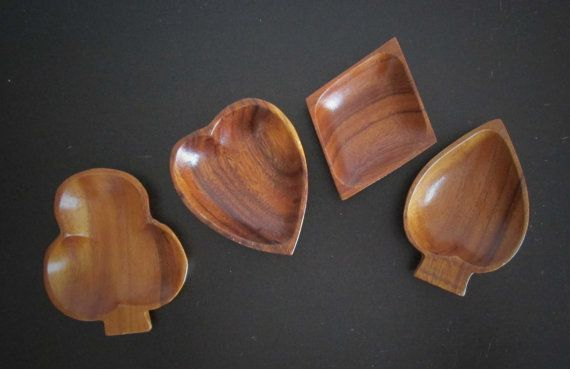 Playing Card Suit Mid Century Set of 4 Wood Serving Bowls AtomicPutz.com