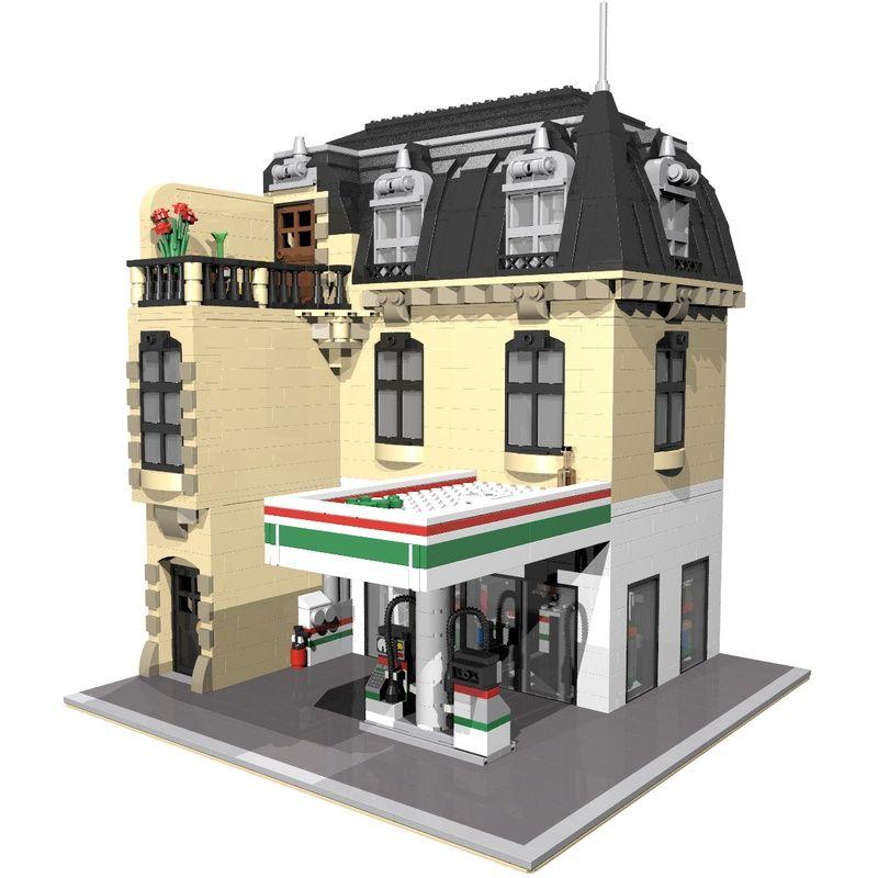 Lego Moc Moc 5852 Corner Service Station Building Instructions And