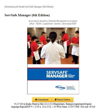 Servsafe Manager 6th Edition Book Publishing Management Informative