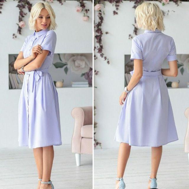 Button belted shirt dress women short sleeve office ladies work dresses midi dress #shortsleevedressshirts