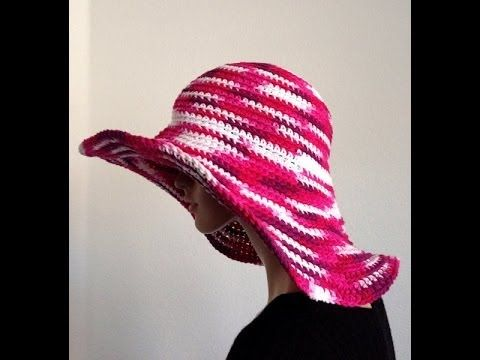 Tutorial Part I: How to Crochet a wide brim ribbed Cotton Summer Hat ...