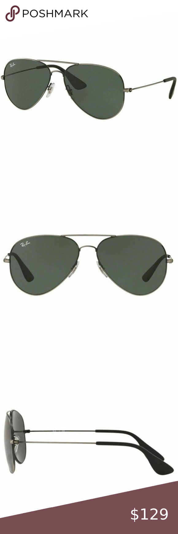 Ray Ban Aviator Style Sunglasses W Dark Green Lens Aviator Sunglasses Style Aviator Style Fashion Sunglasses